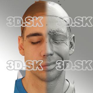 3D head scan of sneer emotion left - Jiri
