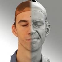 3D head scan of sneer emotion left - Kuba
