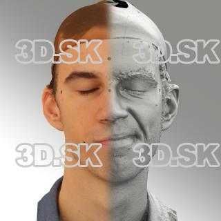 3D head scan of sneer emotion left - Kuba