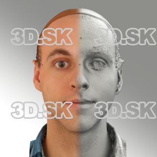 3D head scan of natural smiling emotion - Lukas