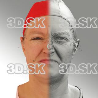 3D head scan of angry emotion - Daniela