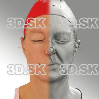 3D head scan of sneer emotion left - Daniela