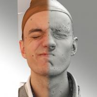 3D head scan of sneer emotion right - Lukas