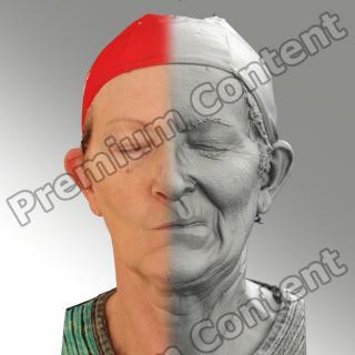 3D head scan of sneer emotion left - Maria