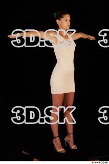 Whole body white dress white heels modeling t pose of Little Caprice 0009