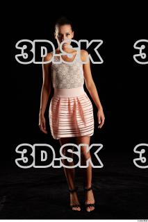 Walking reference of whole body white dress pink skirt black heels Eveline Dellai 0003
