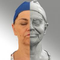 3D head scan of sneer emotion left -