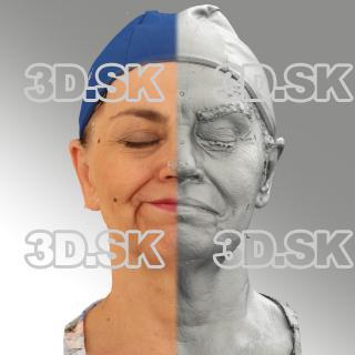 3D head scan of sneer emotion right - Blanka