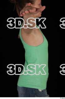 Upper body green tank top blue short jeans of Glenda 0007