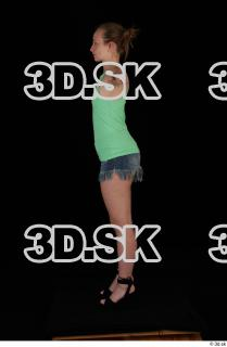 Whole body green tank top blue short jeans black high heels modeling t pose of Glenda 0019