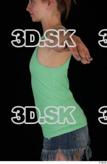 Upper body green tank top blue short jeans of Glenda 0003