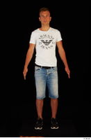 Basil black sneakers jeans shorts standing white t shirt whole body 0001.jpg