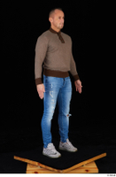 Arnost blue jeans brown sweatshirt clothing standing whole body 0008.jpg