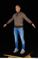 Arnost blue jeans brown sweatshirt clothing standing whole body 0010.jpg