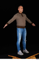Arnost blue jeans brown sweatshirt clothing standing whole body 0016.jpg