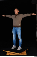 Arnost blue jeans brown sweatshirt clothing standing t-pose whole body 0002.jpg