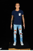 Claudio blue jeans blue t shirt grey sneakers standing whole body 0001.jpg
