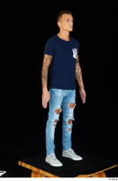 Claudio blue jeans blue t shirt grey sneakers standing whole body 0002.jpg