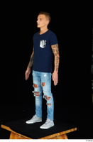 Claudio blue jeans blue t shirt grey sneakers standing whole body 0008.jpg