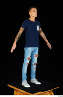 Claudio blue jeans blue t shirt grey sneakers standing whole body 0010.jpg
