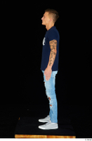 Claudio blue jeans blue t shirt grey sneakers standing whole body 0015.jpg