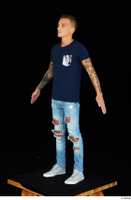Claudio blue jeans blue t shirt grey sneakers standing whole body 0016.jpg