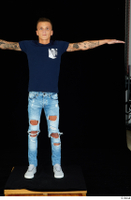 Claudio blue jeans blue t shirt grey sneakers standing whole body 0017.jpg