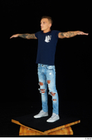 Claudio blue jeans blue t shirt grey sneakers standing whole body 0024.jpg