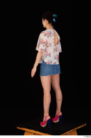 Lady Dee blossom top blue jeans skirt pink high heels standing whole body 0004.jpg