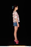 Lady Dee blossom top blue jeans skirt pink high heels standing whole body 0007.jpg