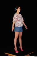 Lady Dee blossom top blue jeans skirt pink high heels standing whole body 0016.jpg