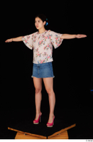 Lady Dee blossom top blue jeans skirt pink high heels standing t poses whole body 0002.jpg