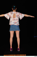 Lady Dee blossom top blue jeans skirt pink high heels standing t poses whole body 0005.jpg