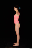 Lady Dee pink bodysuit pink underwear standing t poses whole body 0003.jpg
