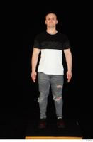 Torin blue jeans brown shoes standing t shirt whole body 0001.jpg