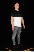 Torin blue jeans brown shoes standing t shirt whole body 0002.jpg