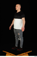 Torin blue jeans brown shoes standing t shirt whole body 0015.jpg