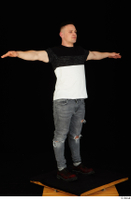 Torin blue jeans brown shoes standing t poses t shirt whole body 0002.jpg