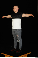 Torin blue jeans brown shoes standing t poses t shirt whole body 0008.jpg