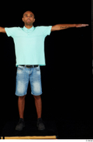 Aaron black sneakers blue t-shirt dressed jeans shorts standing t poses whole body 0001.jpg