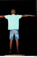 Aaron black sneakers blue t-shirt dressed jeans shorts standing t poses whole body 0005.jpg