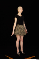 Marsha black high heels black t shirt dressed skirt standing whole body 0002.jpg