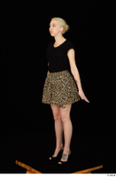 Marsha black high heels black t shirt dressed skirt standing whole body 0008.jpg
