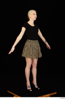 Marsha black high heels black t shirt dressed skirt standing whole body 0010.jpg