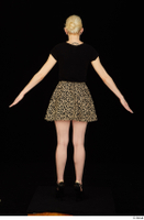 Marsha black high heels black t shirt dressed skirt standing whole body 0013.jpg