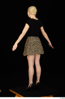 Marsha black high heels black t shirt dressed skirt standing whole body 0014.jpg