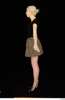 Marsha black high heels black t shirt dressed skirt standing whole body 0015.jpg