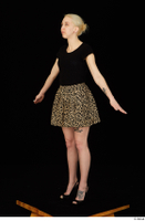 Marsha black high heels black t shirt dressed skirt standing whole body 0016.jpg