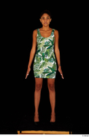 Luna Corazon dressed green patterned dress standing whole body 0001.jpg