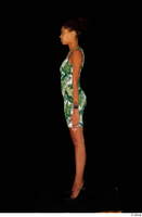 Luna Corazon dressed green patterned dress standing whole body 0003.jpg